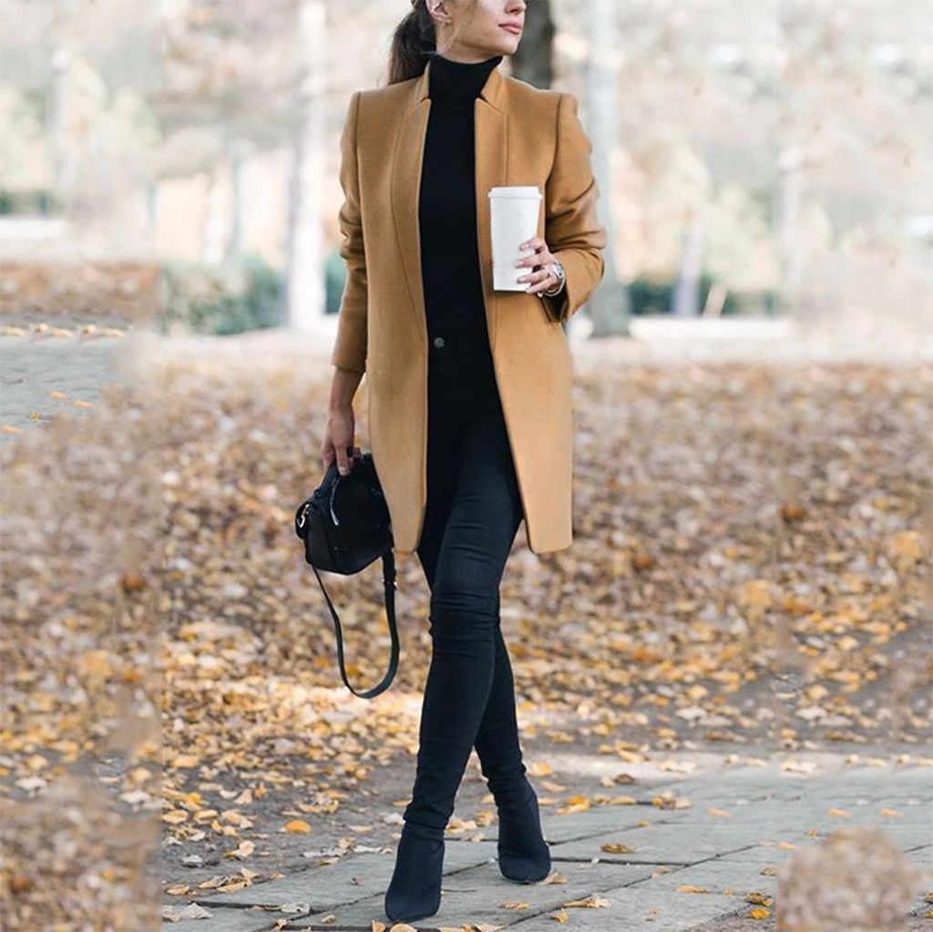 2019 Campuran Wol Mantel Wanita Mantel Musim Gugur Musim Dingin Jaket dan Jas Wanita Plus Ukuran Mantel Wanita Wol Mantel Panjang atasan #3