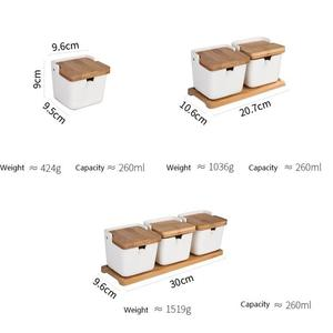 Image 4 - Kitchen Spice Pot Porcelain Sugar Salt Storage Pepper Jars Container Lid Spoon Box Ceramic Bamboo Cover Condiment Seasoning Rack