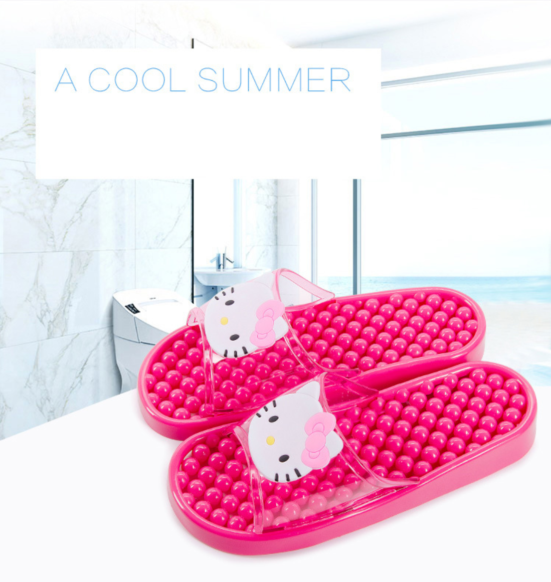 Hello Kitty Woman Sandals Massage Slippers Home Bathroom Flat Slippers Couple Shoes Flip-flops Flat Slippers Slide Shoes Women