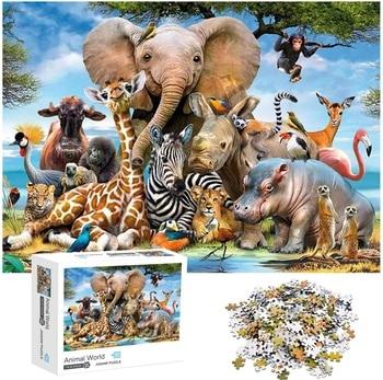 Jigsaw Puzzles 1000 Pieces for Adults Animal World Tiger Elephant Giraffe Zebra Educational Fun Game