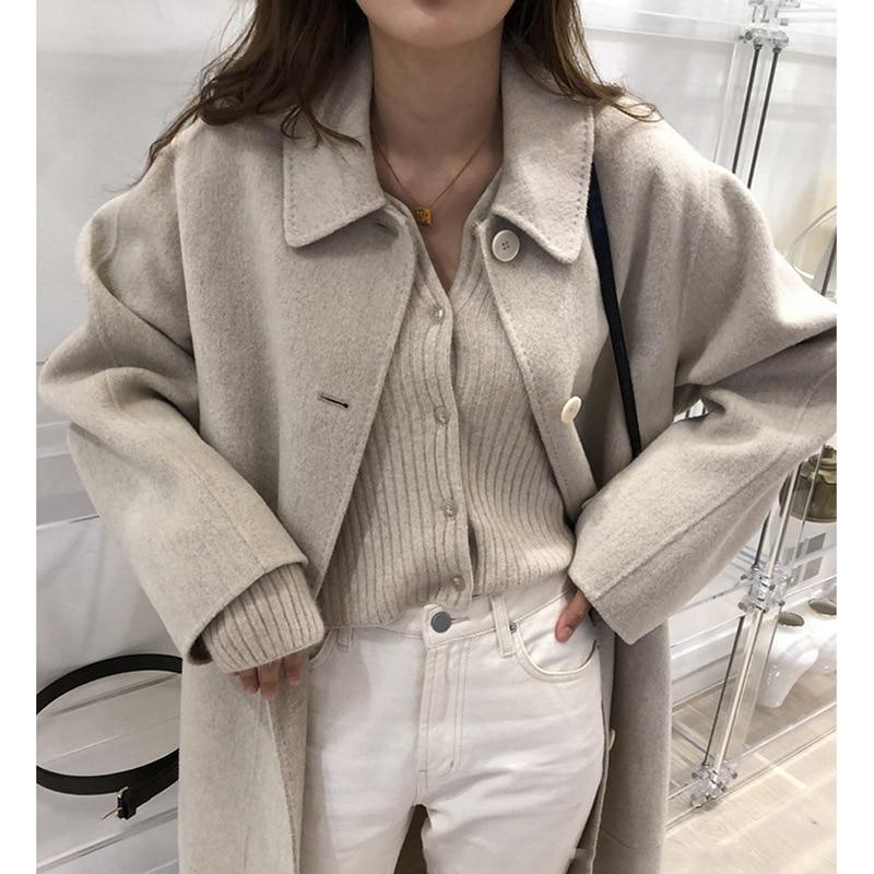 韓版2019年冬季高端時尚優雅雙面手工製作的鬆散的長腰帶羊毛大衣羊毛外套女外套女式女裝cb5feb1b7314637725a2e7:米色|黑色|卡其色