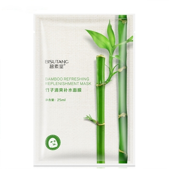 14 Style Plant Fruit Face Mask Pomegranate Aloe Vera Blueberry Cucumber Olive Honey Orange Rose Bamboo Tea Facial Skin Care - Bamboo
