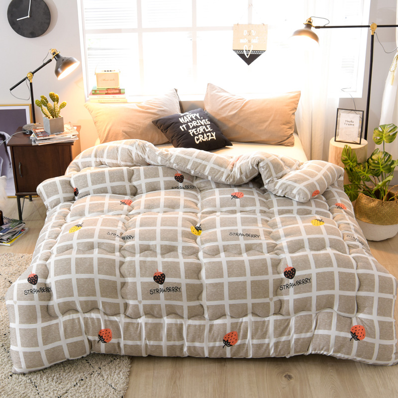 Colorful Thicken Duvet With Stuffing Patchwork Quilt Warm Winter Bed Cover Grey Bedset 220*240, <font><b>150*200</b></font> Winter Thicken Comforter image