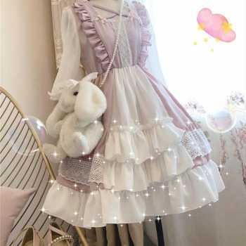 Japanese loli lolita skirt op small cute dress lolita dress schoolgirl fairy skirt gothic lolita dress women kawaii clothing Women's Clothing & Accessories cb5feb1b7314637725a2e7: Black|Pink
