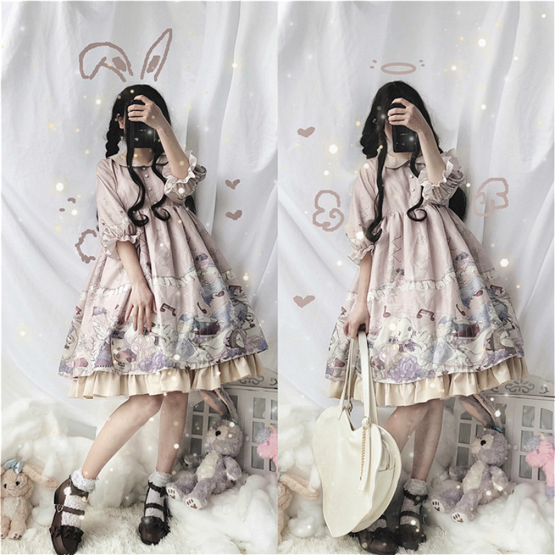 Gothic Lolita Dress Woman Vintage Kawaii Palace Princess Party Wear Long Sleeve Printed Cute Cosplay Sweet <font><b>Loli</b></font> <font><b>Costumes</b></font> 3 Color image