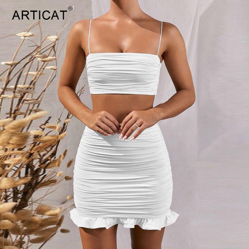 Articat White Women 2 Piece Set Bodycon Dress Ruffles Off Shoulder Crop Top Summer Dress Casual Short Beach Vestidos 1