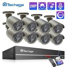 Techage H.265 8CH 1080P POE NVR Kit sistema di sicurezza CCTV HD 2.0MP IR registrazione Audio esterna telecamera IP P2P Set di videosorveglianza
