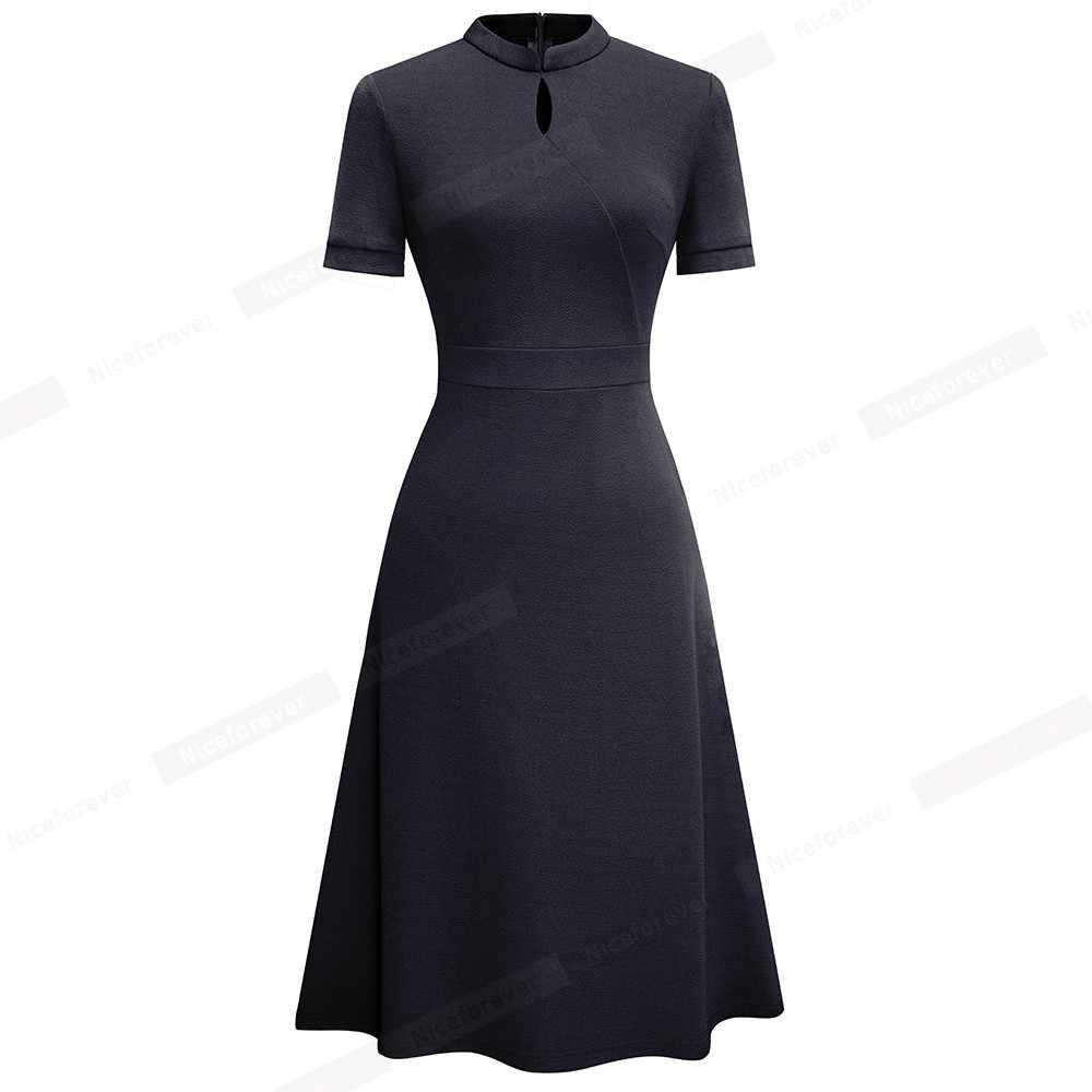 Nice-Forever Zomer Vintage Elegante Pure Kleur Vestidos Met A-lijn Retro Vrouwen Jurk A199