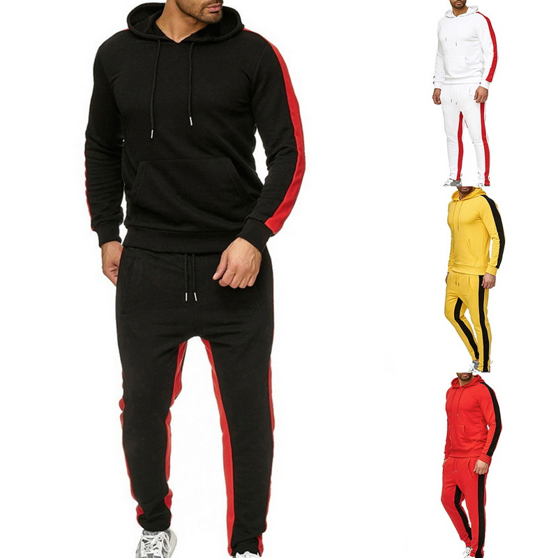 Men 2019 New Sport Set Men's Long Sleeve Hoodies Pullover Athletic Sports Jogging Sweatsuit For Running
