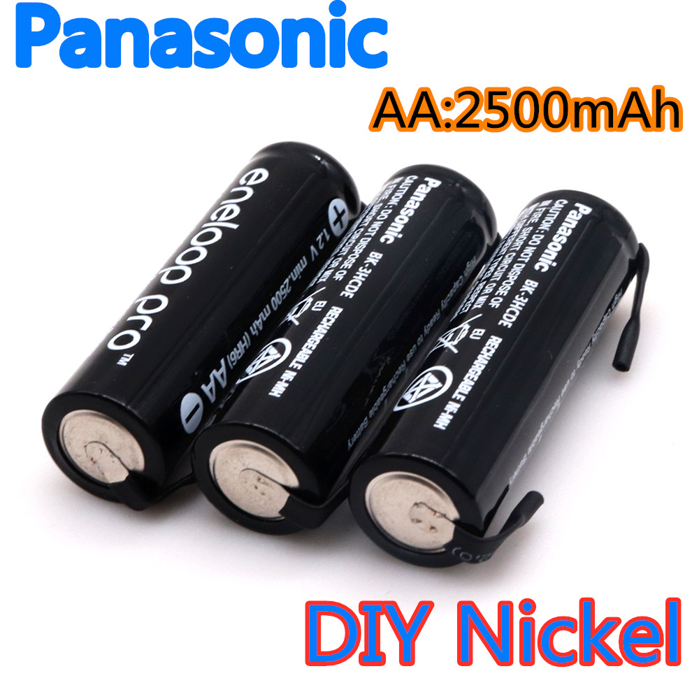 Panasonic <font><b>1.2V</b></font> AA battery 2500 MAH 2A <font><b>Ni</b></font>-<font><b>MH</b></font> <font><b>Ni</b></font> <font><b>MH</b></font> cell blue shell with tabs pins for Philips Braun electric shaver tool brush image