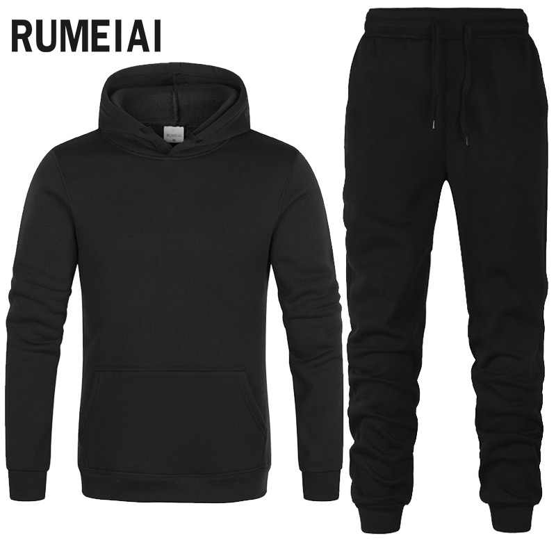 2019 Nieuwe Sport Pak Hoodie Effen Kleur Hooded + Broek Mannen Casual Katoenen Herfst/Winter Warme Sweatshirts Mannen casual Trainingspak Jas