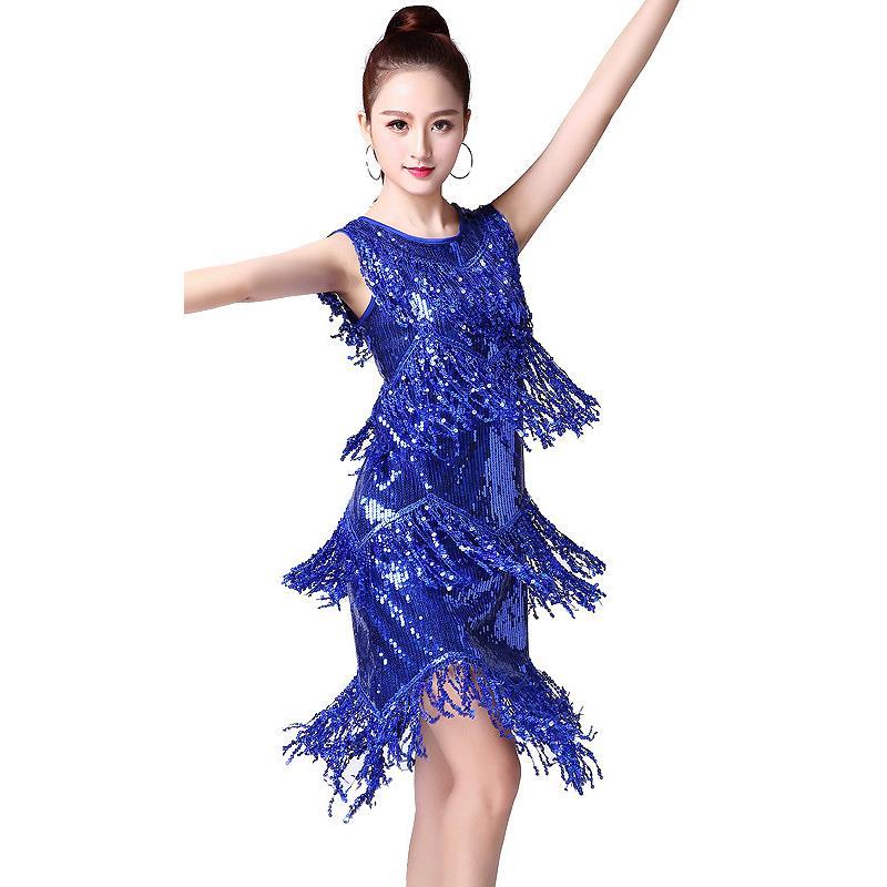 Latin Dancing Dress Flamenco Tango Samba Cha Cha Dance Dress Sleeveless Tassels Sequins Wear For Women Lady