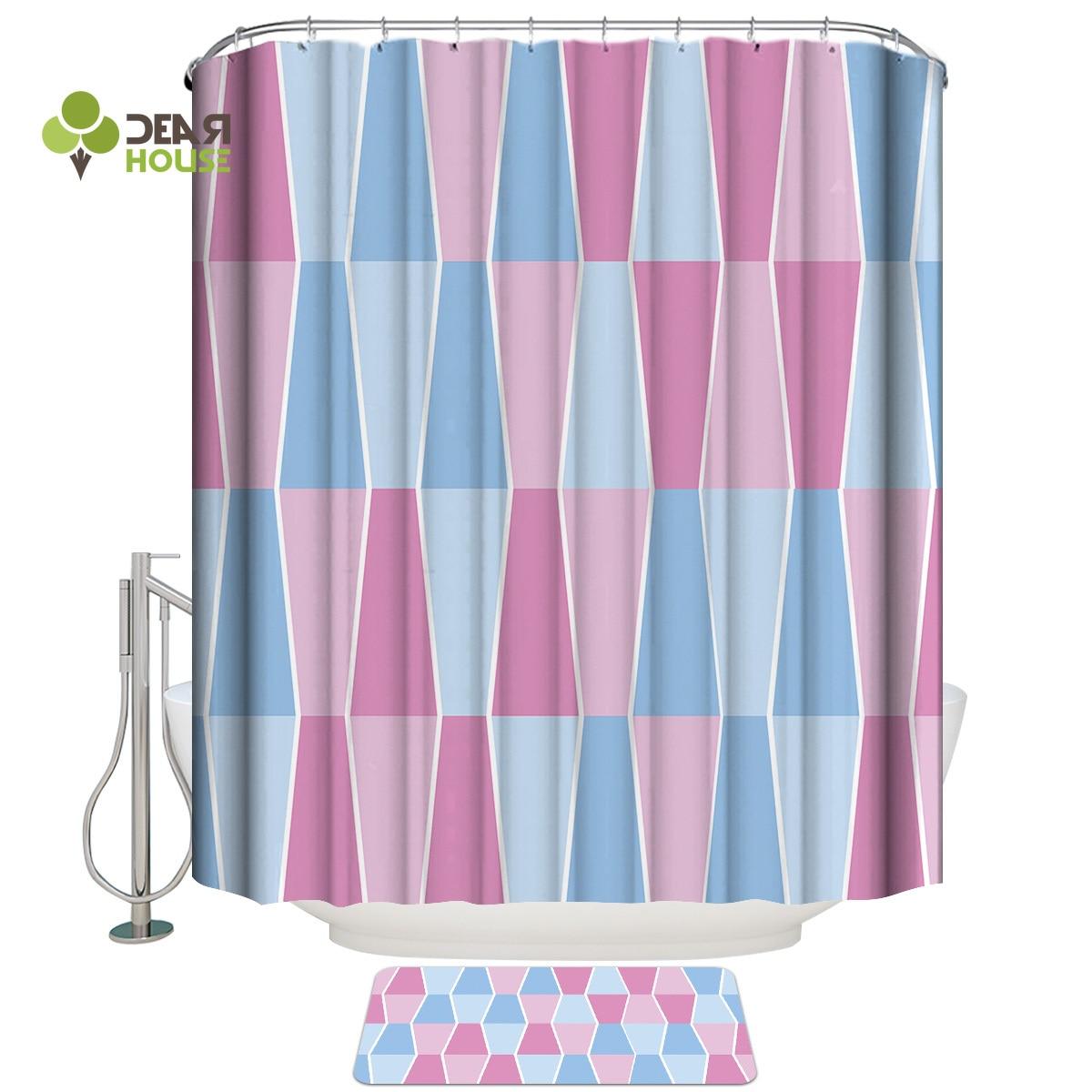 dear house shower curtain and mat set geometric stitching pink blue shower curtain set waterproof fabric