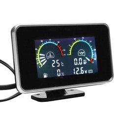 4-In-1 Lcd samochód cyfrowy przyrząd Lcd miernik ciśnienia oleju woltomierz wskaźnik paliwa termometr wodny połączone zegarek M10