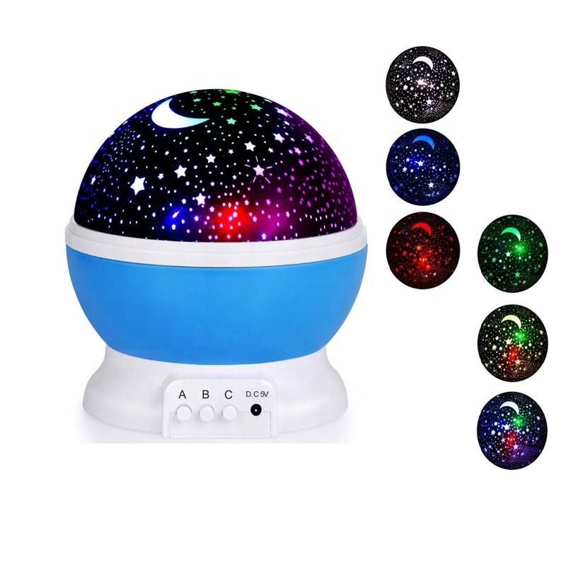 1-4Pcs LED Star Master Sky Starry Lamp Auto Rotating Projector Night Light  USB Port Bedroomlight Valentine's DayFestival Gifts