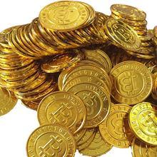 100 pçs moedas de ouro falso brilhando piratas plástico bitcoin chips festa favor moeda brinquedo clipes jogo token moedas