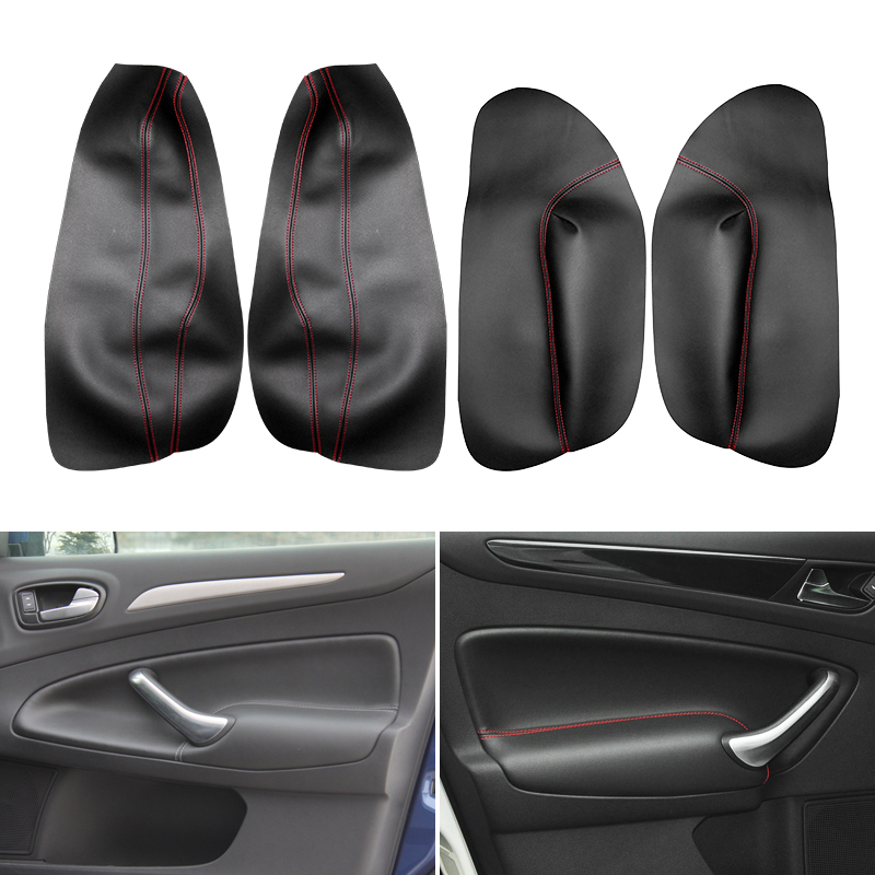Interior Microfiber Leather Door Handle Armrest Panel Cover For Ford Mondeo 2007 2008 2009 2010 2011 2012