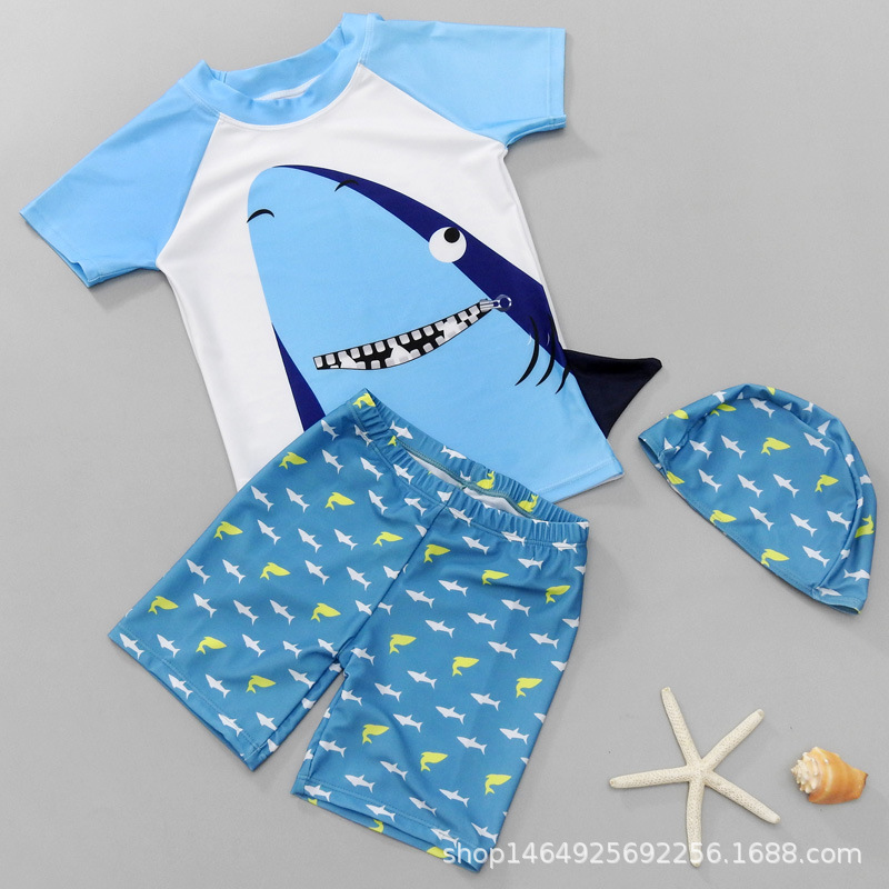 Split Type Fashion Shark Cartoon BOY'S Swimsuit New Style Children Boy Hot Springs Swimwear Set Infants Children