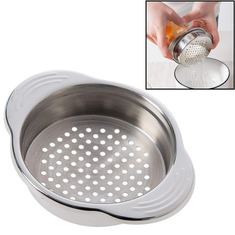 Botique-Stainless Steel Food Can Strainer Sieve Tuna Press Lid Oil Drainer Remover, Unique No-Mess Dishwasher Safe Design image