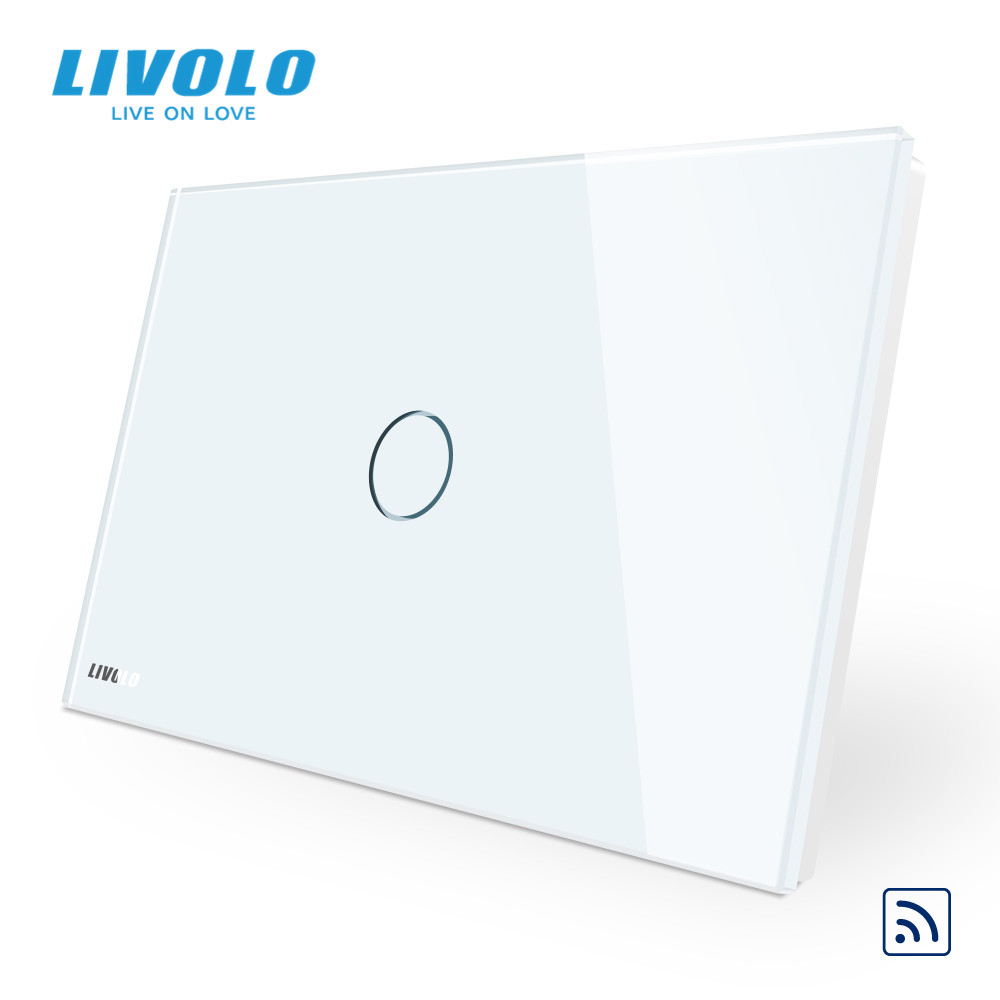 LIVOLO US C9 Standard  Wall Touch Light Switch,with LED indicator, remote wireless control,Ivory Glass Panel