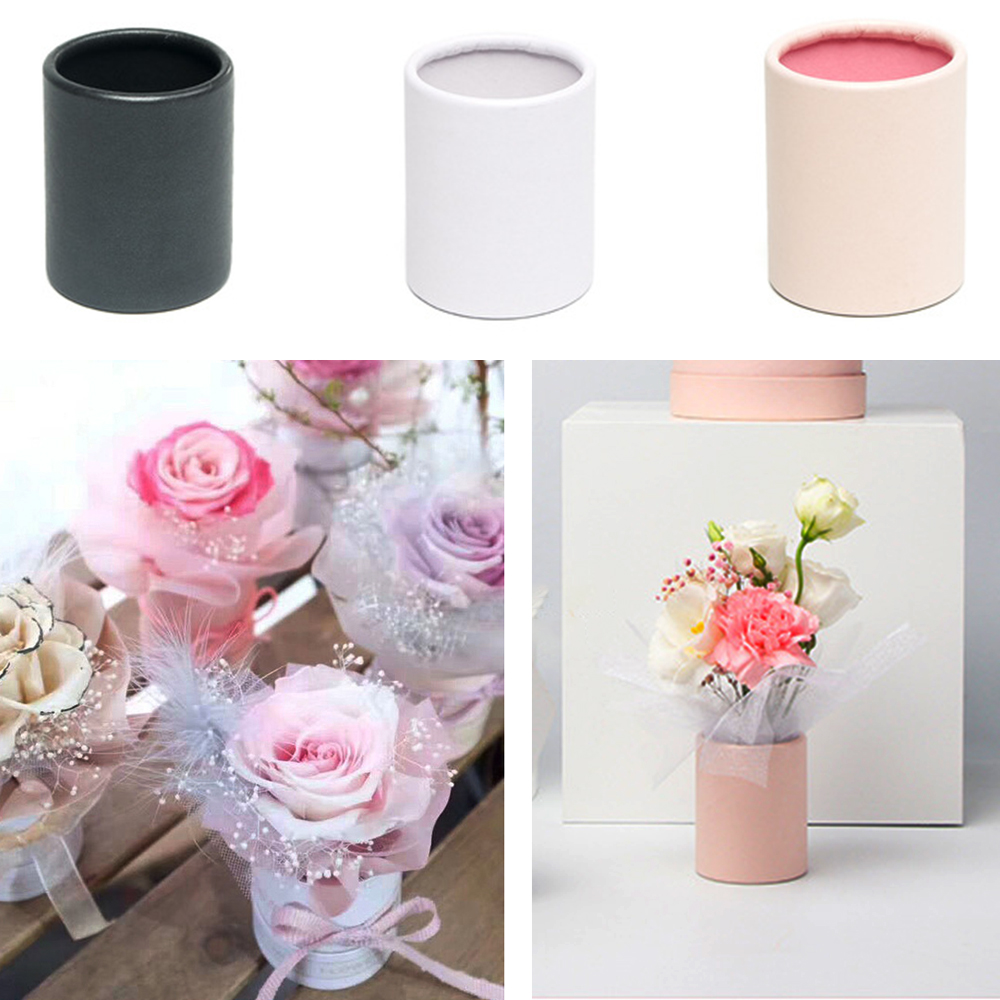 Creative Flower Arrangement Box Mini Flower Bucket Florist Bouquet Boxes Barrel Gift Packing For Valentine'S Day Wedding Party