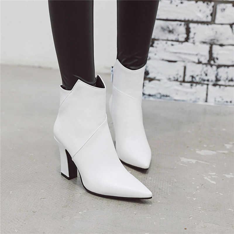 ASUMER artı boyutu 34-48 moda sonbahar kış çizmeler sivri burun zip bayanlar yarım çizmeler klasik balo yüksek topuklu ayakkabılar kadın botları