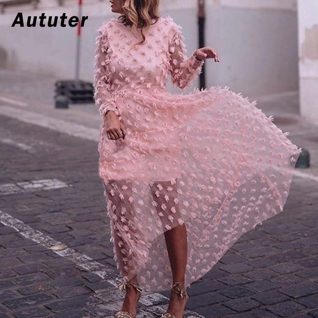 Women Chiffon Solid Pink Backless Elegant Lace Long Dress Sexy ...