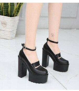 Black white 14cm thick with high heels European American sexy waterproof platform model nightclub catwalk women's single shoes