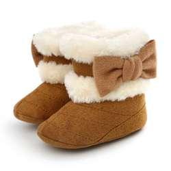 Обувь для малышей; теплые зимние пинетки для малышей; нескользящая обувь для новорожденных; детская обувь с бантом; обувь для кроватки;