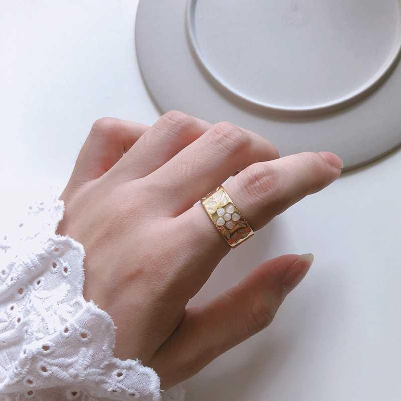 Louleur 925 スターリングシルバーフラワーゴールドリング樹脂印刷ビッグ調整可能なシルバーワイドリング女の子女性ファッションジュエリーギフト