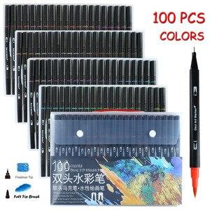 Image 1 - 48/60/72/100 adet yüksek kaliteli çift çizim Manga resim kalemi kalem Bullet dergisi yetişkin boyama kitapları kaligrafi yazı
