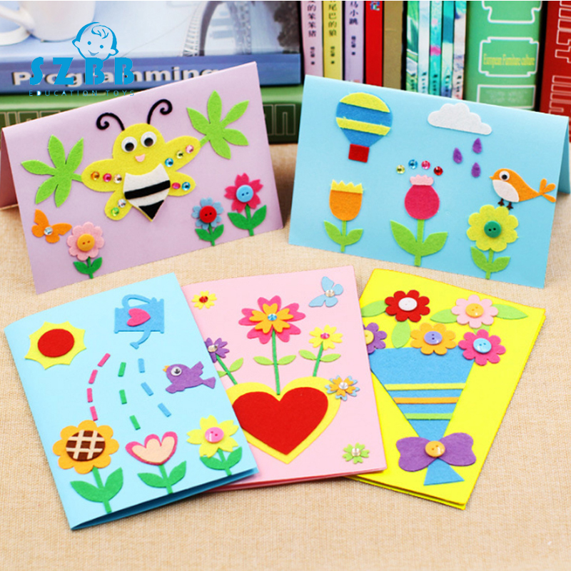Sz Steam DIY Handmade Greeting Cards Children Handmade Non-woven Material Craft Toys Kids Creative 3D Puzzle Toy Educational Toy