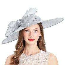 الملكي الزفاف الكنيسة Fedoras المرأة القبعات الزفاف امرأة قبعة ل أنيقة رمادي الفاسناتور قبعة الرامي القوس الكتان واسعة قبعة بحافة النساء