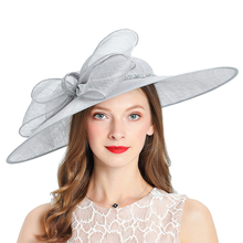 Kraliyet düğün kilise Fedoras bayan şapkaları düğün kadın şapka zarif gri Fascinator melon kap yay keten geniş brim şapka kadın