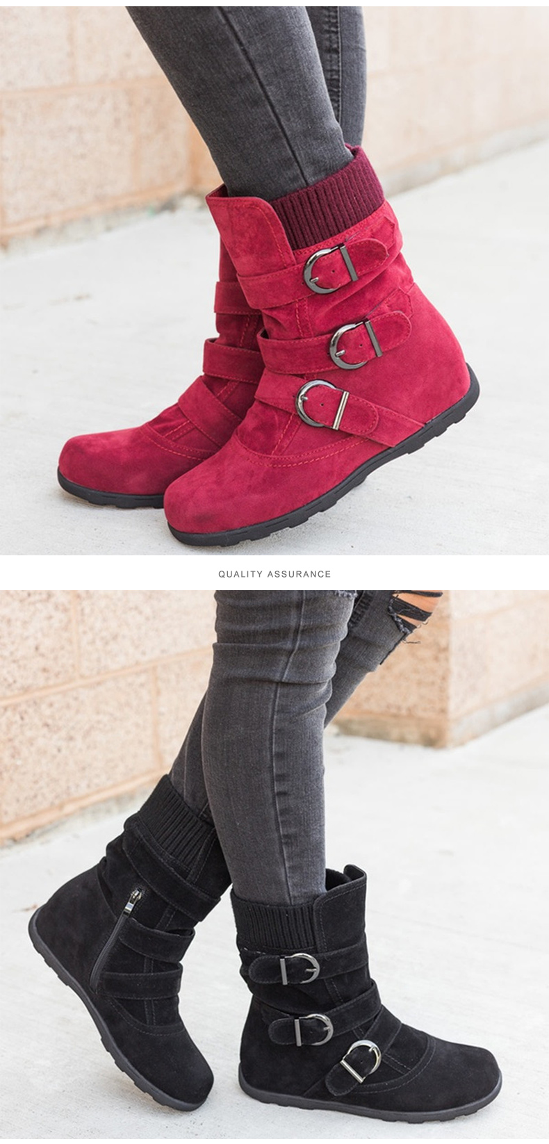 Woman boots Plus Size 43 winter boots woman 2019 Boots Rubber Non slip Snow boots Belt buckle Ankle boots for women 29