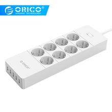 ORICO HPC 8A5U UE nos enchufe de Reino Unido 8 Outlet Protector contra sobretensiones Power Stirp con 5 x 5V2.4A USB puertos de cargador blanco y negro