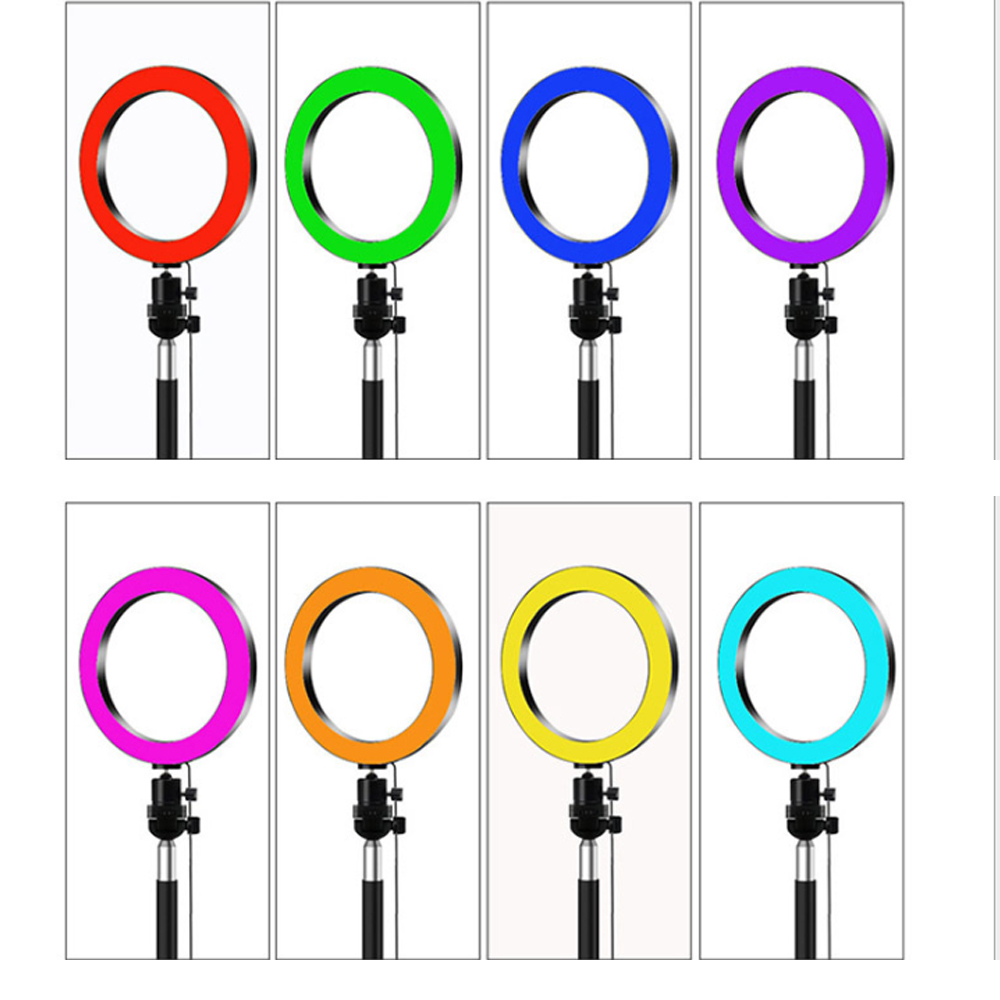 2020 RGB Ring Light With Tripod Phone Clip Selfie Colorful Photography Lighting for TikTok Vlogging Short Video YouTube Live