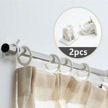 1 conjunto auto adesivo cortina hastes suporte branco gancho barra transversal grampos de parede ganchos organizador trilhos rack armazenamento em casa