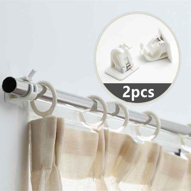 1set Self Adhesive Curtain Rods bracket White Hanger Crossbar  Clips Wall Hooks organizer rails rack home storage