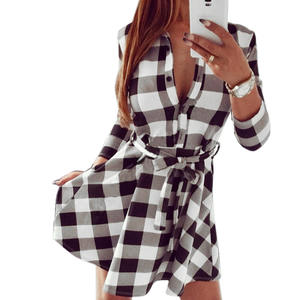 Slim Dress Charming Plaid Shirt Long-Sleeve Casual Women with Belt High-Waist