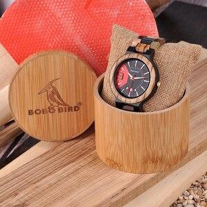 Image 5 - Bobo Vogel Houten Horloge Mannen Tonen Datum Qartz Horloge Mannelijke Relojes Hombre Klok Kleurrijke Band Houten Doos Saat Erkek Drop schip