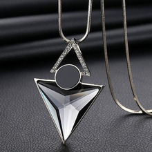 Crystal Triangle Long Necklace 2019 Ladies Tassel Silver Chain Necklace Sweater Chain Vintage Geometric Necklace Women Jewelry