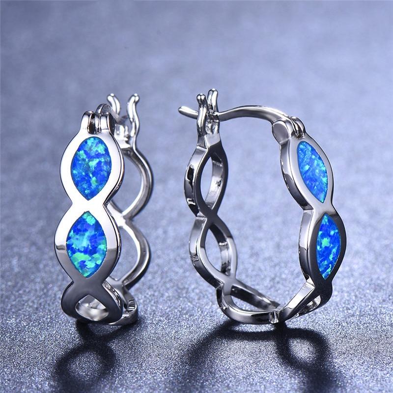Женские серьги-кольца FDLK ручной работы, серьги с большими волнами, синие серьги с имитацией опала, свадебные ювелирные изделия для помолвки,...