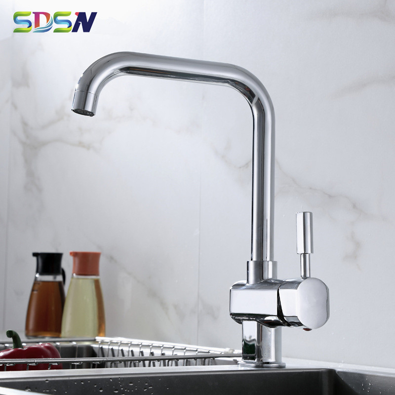 Kitchen Mixer Tap SDSN Seven Word Polished Chrome Kitchen Sink Faucets Quality Brass Kitchen Tap Zincl Alloy Kitchen Faucets