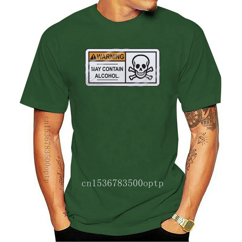 Warning! May Contain Alcohol Men's White T-shirt