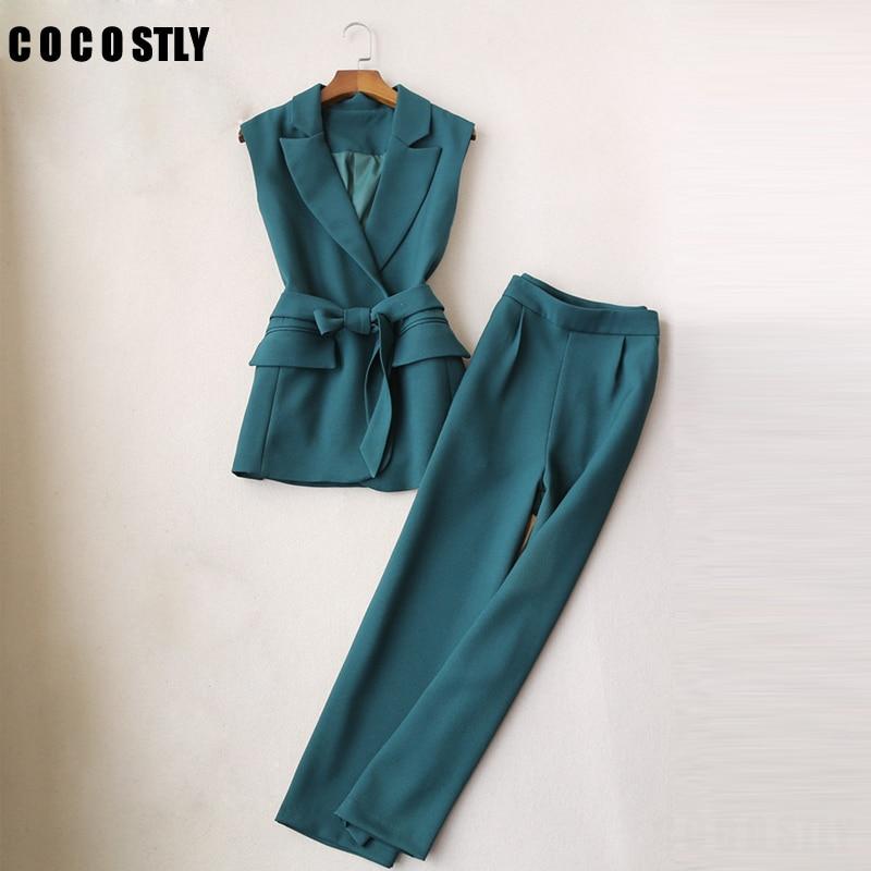 Pant Suits For Women Temperament Sleeveless Vest Fashion Office Lady Slim Vest Wide Leg Pants Nine Pants Suit Conbinaison Femme