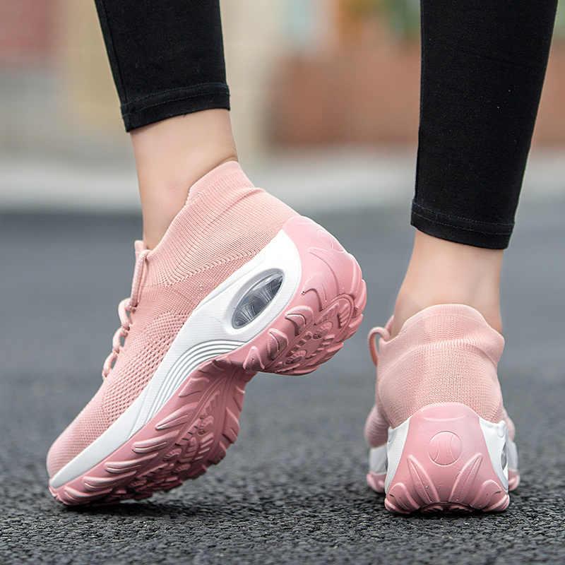 CINESSD Faulenzer Frauen 2019 Herbst Winter Turnschuhe Slip auf Flache Plattform Keile Turnschuhe für Frauen Mesh Socke Zapatos De Mujer