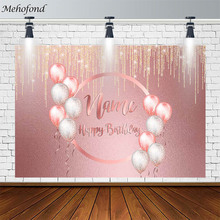 Mehofond Happy Birthday Party Backdrop Balloon Golden Shiny Wedding Customized Pink Photography Background Photocall Decor props