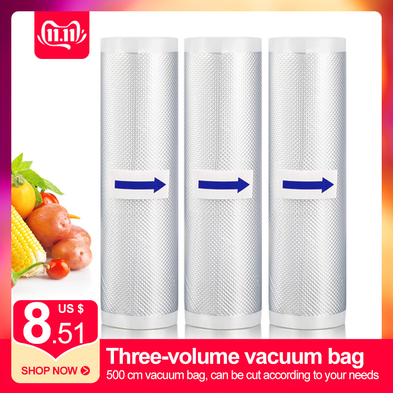3 Rolls Best Food Vacuum Sealer Bags Kitchen Food Storage Bags 12 15 20 25cm X 500cm For Vacuum Sealer Packaging Machine