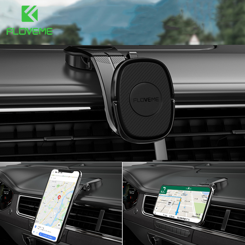 FLOVEME Foldable Magnetic Car Phone Holder For IPhone Xiaomi Magnect Dashboard Paste Mount 360 Adjustable Phone Holder Stand